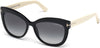 Tom Ford FT0524 Alistair Geometric Sunglasses 05B-05B - Shiny Black Front, Shiny Ivory Temples / Gradient Smoke Lenses