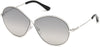 Tom Ford FT0564 Rania-02 Oval Sunglasses 18C-18C - Shiny Rhodium / Smoke Mirror
