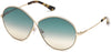 Tom Ford FT0564 Rania-02 Oval Sunglasses 28P-28P - Shiny Rose Gold / Gradient Green