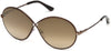 Tom Ford FT0564 Rania-02 Oval Sunglasses 48G-48G - Shiny Dark Brown / Brown Mirror
