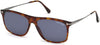 Tom Ford FT0588 Max-02 Geometric Sunglasses 54V-54V - Red Havana / Blue
