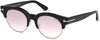 Tom Ford FT0598 Henri-02 Round Sunglasses 01Z-01Z - Shiny Black  / Gradient Or Mirror Violet
