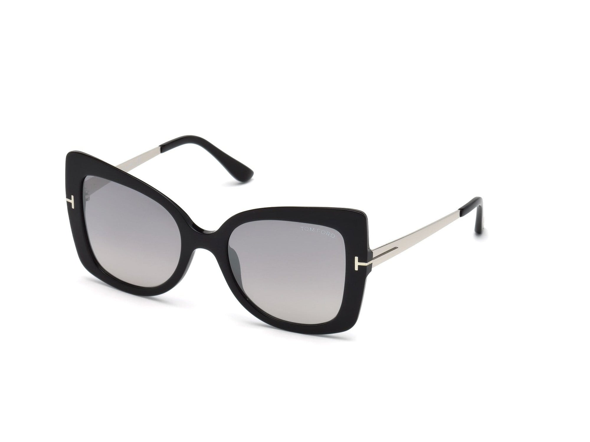 Tom Ford FT0609 Gianna-02 Butterfly Sunglasses 01C-01C - Shiny Black, Palladium Temples/ Grad. Smoke Lenses, Silver Flash