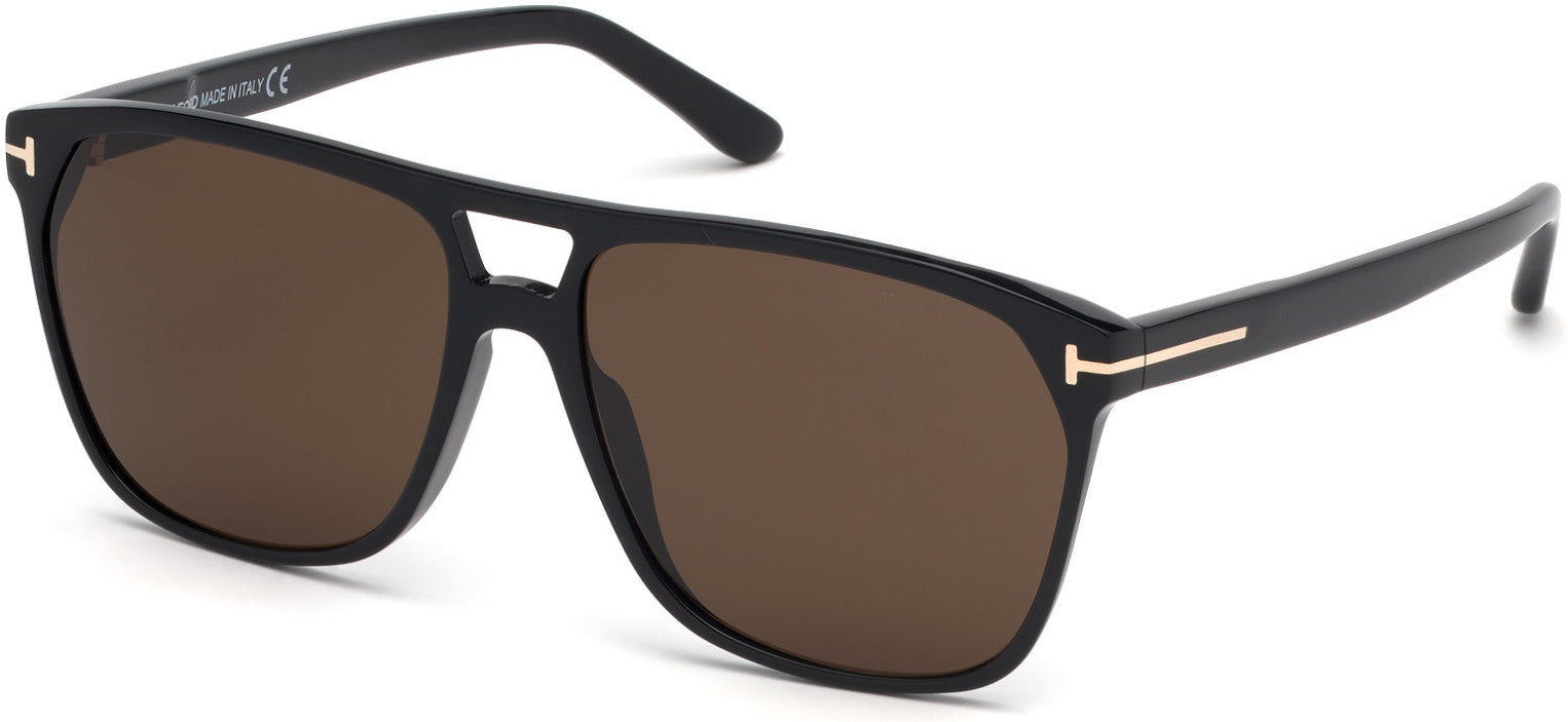 Tom Ford FT0679 Shelton Geometric Sunglasses 01E-01E - Shiny Black / Brown Lenses