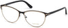 Tom Ford FT5420 Cat Eyeglasses 005-005 - Matte Black Metal & Shiny Rose Gold, Shiny Black Temples