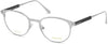 Tom Ford FT5482 Round Eyeglasses 018-018 - Shiny Rhodium, Shiny Dark Grey Temple Detail