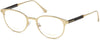 Tom Ford FT5482 Round Eyeglasses 028-028 - Shiny Rose Gold, Shiny Dark Havana Temple Detail
