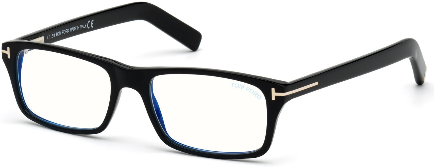 Tom Ford FT5663-B Rectangular Eyeglasses 001-001 - Shiny Black/ Blue Block Lenses