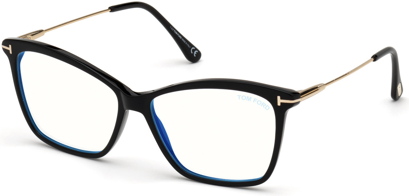 Tom Ford FT5687-F-B Square Eyeglasses 001-001 - Shiny Black, Shiny Rose Gold / Blue Block Lenses