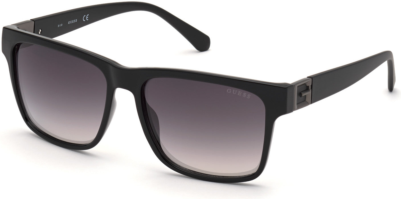 Guess GU00004 Square Sunglasses 01Q-01Q - Shiny Black  / Green Mirror