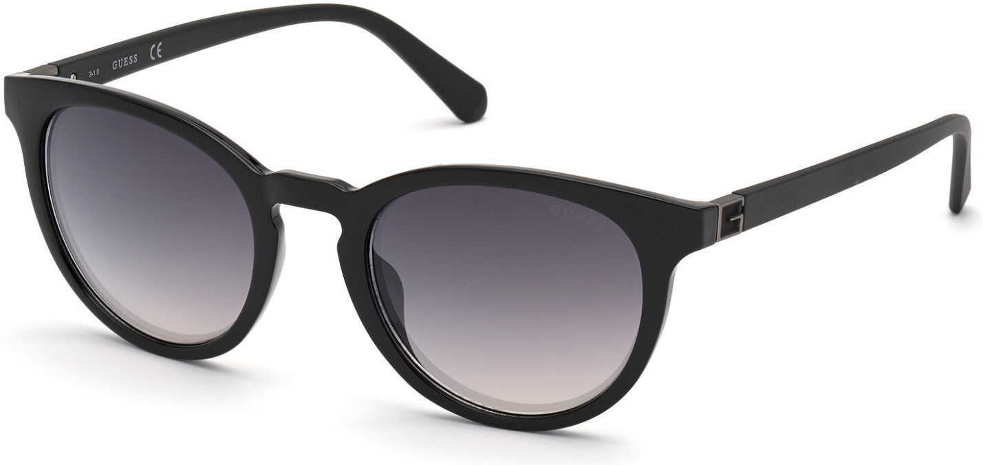 Guess GU00005 Round Sunglasses 01Q-01Q - Shiny Black  / Green Mirror