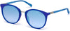Guess GU3022 Round Sunglasses 91X-91X - Matte Blue / Blu Mirror
