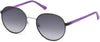 Guess GU3027 Round Sunglasses 02B-02B - Matte Black / Gradient Smoke