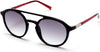 Guess GU3033 Round Sunglasses 01B-01B - Shiny Black / Gradient Smoke Lenses