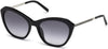Swarovski SK0143 Cat Sunglasses 01B-01B - Shiny Black / Gradient Smoke Lenses