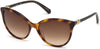 Swarovski SK0147 Cat Sunglasses 52G-52G - Dark Havana / Brown Mirror Lenses