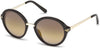 Swarovski SK0153 Round Sunglasses 48G-48G - Shiny Dark Brown / Brown Mirror Lenses