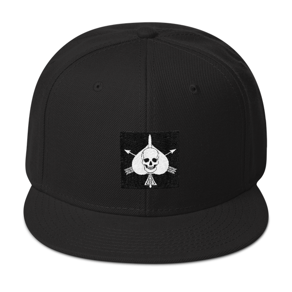 RTB White Death Card On Black Snapback Hat - Raise the Black