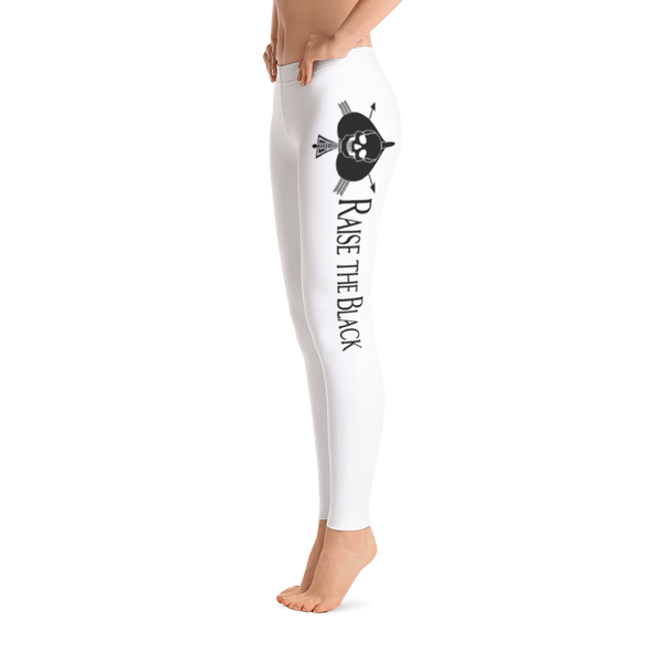 "Women's Black On White Death Card Leggings With ""Raise The Black"" In English - Raise the Black"