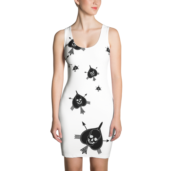 Death Card Black On White Sublimation Cut & Sew Dress - Raise the Black