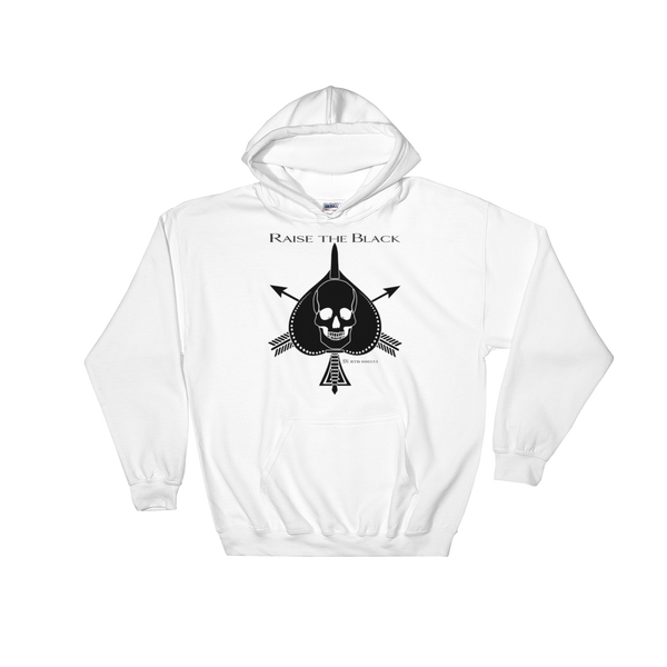 RTB Black On White Death Card Hoodie Front Print - Available NOW! - Raise the Black