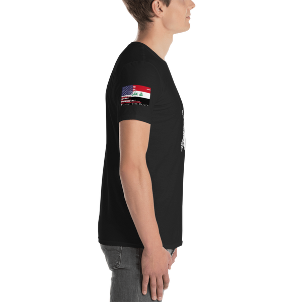 Death Card Short-Sleeve T-Shirt W/ Unity Flag On Sleeve - Raise the Black