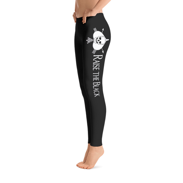 "Women's White On Black Death Card Leggings With ""Raise The Black"" In English - Raise the Black"