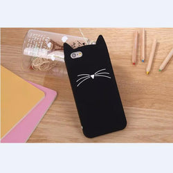 For iPhone 5 5s 6 6s 7 Case Cute Cartoon Cat Cases 3D Silicone Soft Back Cover Black Pink Phone Shell Funda For iPhone 5s