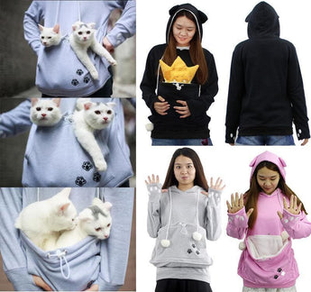 Dog/Cat Lovers Hoodies With Pet Holder Chihuahua Dog Puppy Cat Kitten Rabbit Little Animals Pouch Carriers Pullover With Ears