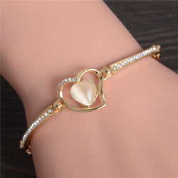 Women Cat's Eye Heart Crystal Charms Bracelet