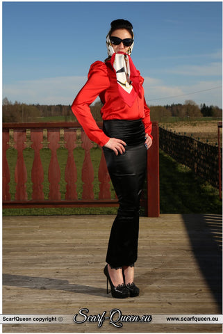 Tamara the Scarf Queen in Little Black Hobble Skirt and RoSa Shoes and Silk Scarf