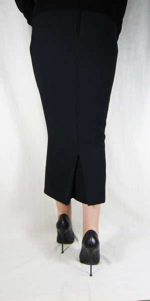 Hobble Skirt Calf Length With Kickpleat Crepe The