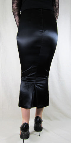 Hobble Skirt Calf Length With Kickpleat Suiting Twill