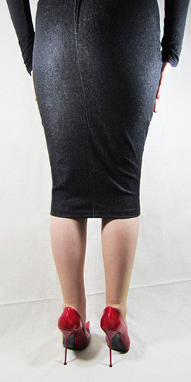Hobble Skirt Knee Length - Denim