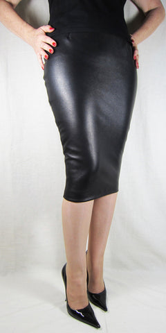 Hobble Skirt Knee Length - Leather