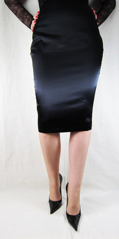 Hobble Skirt Knee Length - Satin