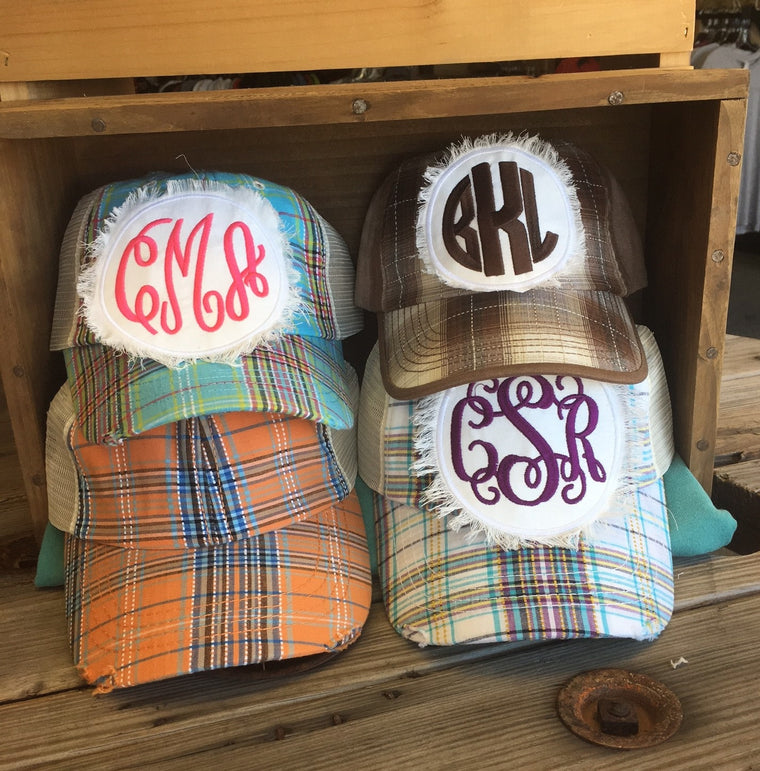 Plaid Monogram Hat