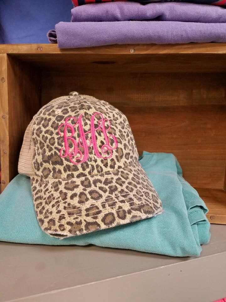 Floral or Leopard Monogram Hat