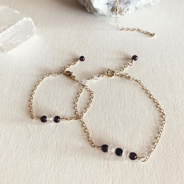 Mama + Mini Garnet and Quartz Bracelets