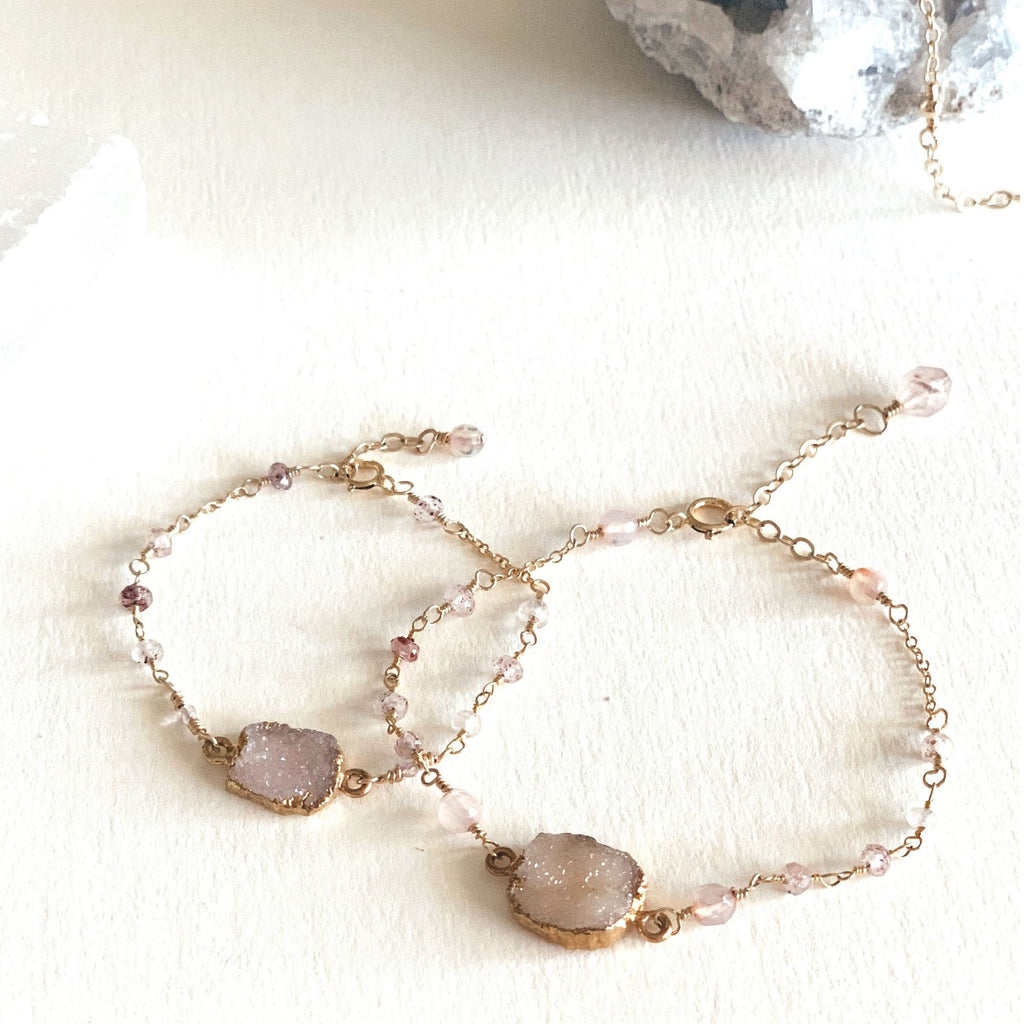 Mama + Mini Rose Quartz Druzy Bracelets