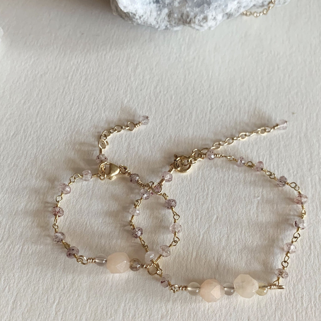 Mama + Mini Rose Quartz Stone Bracelets