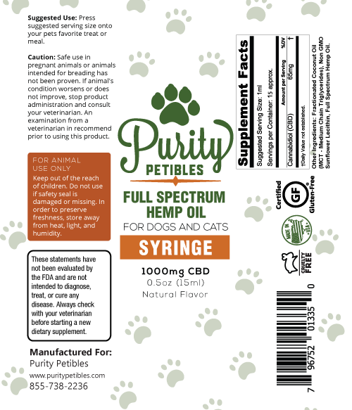 Full Spectrum Hemp Oil Pet CBD High Dose Syringe 1000mg