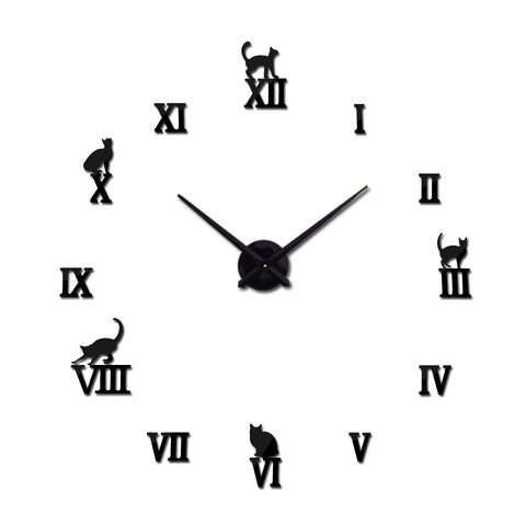 2017  large decorative wall clocks brief design diy clocks digital watch quartz living room 3d cat wall stickers