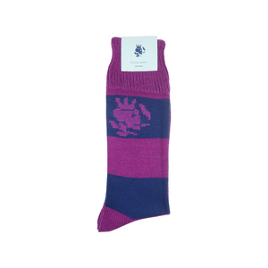 Striped Smoking Skull Socks - Pink - duncanquinn