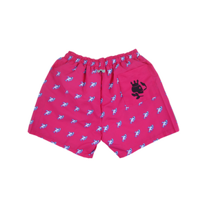 Robot Shark Swim Trunks | Pink - duncanquinn