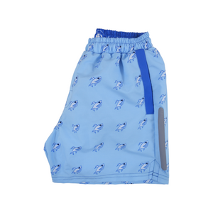 Robot Shark Swim Trunks | Light Blue - duncanquinn