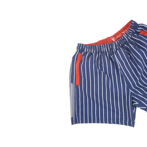 Stripe Swim Trunks | Navy - duncanquinn