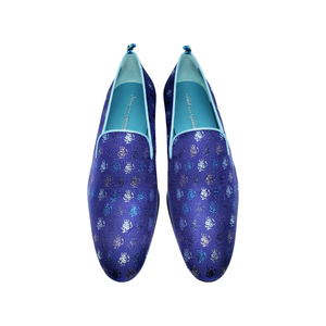 Smoking Skull Slipper Shoes | Blue - duncanquinn