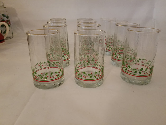 12 piece Christmas glass set