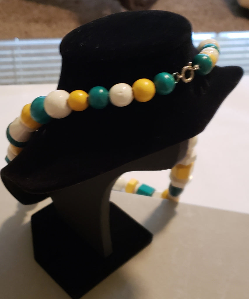 Turquoise, Yellow and White wooden necklace
